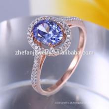 Chapeamento de champanhe 925 sol anel de prata com pedra azul