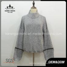 Jersey de jersey suelto con cuello redondo y textura texturizada