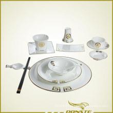 Louça chinesa Linhas decorativas douradas com caráter chinês da bênção
