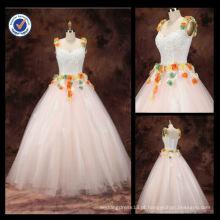 Atacado 2016 Novo 100% Elegaa-lnt Sexy Shoulder Straps Beaded A-line com colorido Handmade Flower Wedding Dress nupcial WA00064
