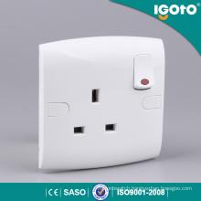 E13-N Good Quality British New Design Electrical Multi 3 Pins Igoto Neon Light Switch Socket