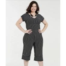 Women Casual V-neck Short Sleeve Stripe Jumpsuits