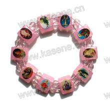 Розовый цвет пластик эпоксидной святой браслет, религиозный браслет