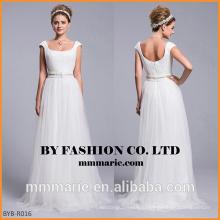 2016 новый стиль простой алибаба дешевые оптовые свадебные платья линии бисером пояса свадебные платья низкий вернуться платье невесты из Китая