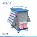 Cerradura centralizada AG-MT011A1 capital enfermera del hospital utiliza carretilla lateral doble bandeja médica para la venta