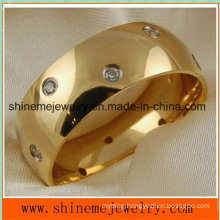 Shineme Comfortable Jewelry CZ 18k Gold Plated Titanium Ring
