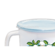 16cm(2000ml) full decal enamel mug with PE lid or metal lid