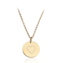 18k gold plated Stainless Steel Blank Heart Pendant Necklace for women