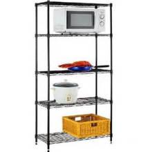 Black Metal 5 Tier Adjustable Utensil Storage Kitchen Rack