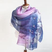 Lady fashion 180*90 size weight ladies silk neck 70% pashmina 30% silk raw blend scarf