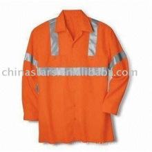 Camisa longa reflexiva da luva da visibilidade alta