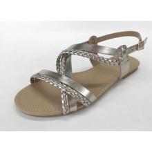 Mulheres tecidas sandálias planas com material de PU