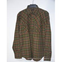 Camisa de franela para hombre de manga larga con botones a cuadros al por mayor