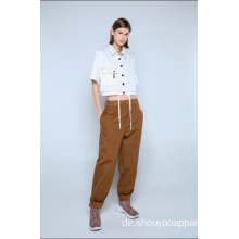 LADIES WHITE CROPPED BLOUSE MIT KURZEN ÄRMELN