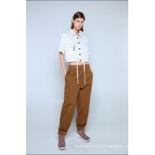 LADIES WHITE CROPPED BLOUSE WITH SHORT SLEEVES