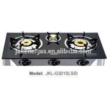 glass top gas stove triple burner gas cooker