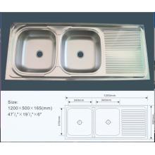 Jnj928 120 * 50 * 16 cm Batidor doble barato de acero inoxidable cocina fregadero