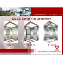 Cabine do elevador com o painel dourado côncavo (SN-CD-152)