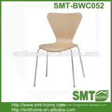 cheap plywood dining chair with metal legs for restaurant