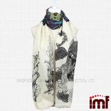 Этническое перо из павлин 100% Шерстяной платок