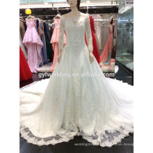 Alibaba Online Hot Sale Applique Scoop Neckline Organza White Wedding Dress 2015,Bridal GownA101