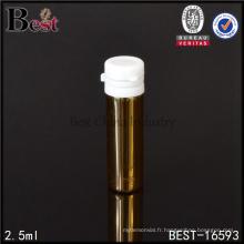 Flacons de verre pharmaceutiques ambrés de 2,5 ml