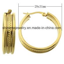 Shineme ювелирные изделия высокое качество из нержавеющей стали золото Плакировкой серьги (ERS6973)
