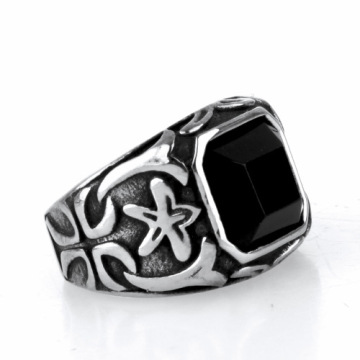 Black cross square stone signet rings