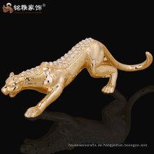 handgemachtes dekoratives Leopardenharzstatue mit shinning diomand