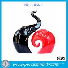 Negro y rojo amor elefante porcelana decoración de la boda