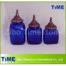Dekorative blaue Glasspeicherkanister mit Finial-Glasspitze