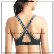 OEM New Design Moda Mulheres Push Up sem costura Cross Sutiã Sport Voltar