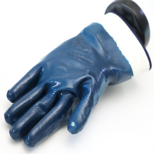 Smooth Grip Cotton Jersey Liner Fully Coated Nitrile Gloves With Reinforced Safety Cuff