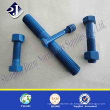 Teflonbefestigungsbolzen Asme Standard B7 Bolzenschraube mit 2 Schraubenmutter Herstellung