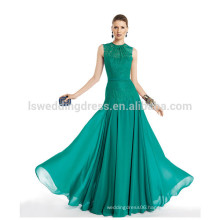 HC4235 lace mermaid evening gowns Green Lace Appliqued Gathered Chiffon Low Waist Sexy Revealing Evening Dresses