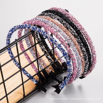 Wholesale Korean luxury rhinestone hair band diamond hairband temperament simple headband for women