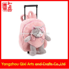 Cat soft toy on front pink color plush trolley bag kids school wheeled plush toy bag trolley