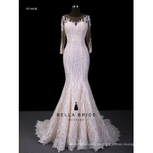 Langes Hülsenspitze-Hochzeitskleid bling Meerjungfrau-Hochzeitskleid durch unteres backless