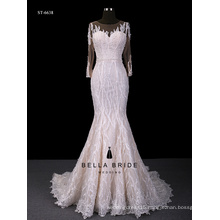 Long sleeve lace wedding dress bling mermaid wedding dress through bottom backless