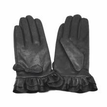 Lady Fashion Ruffle Cuff Goatskin Leather Dress Gloves (YKY5210)