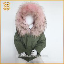 Army Green Best Quality Fox Kid Child Real Fur Parka