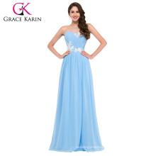 Grace Karin Sweetheart Strapless Floor Length Light blue Prom Dress CL6107-3#