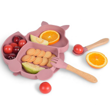 Bpa Free Feeding Divided Food Kids With Spoon And Fork Dinner Dish Toddler Suction Set Baby Silicone Plates