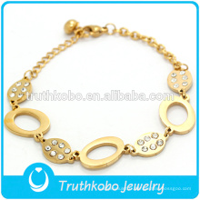 Fremada - Bracelet à breloques en argent avec pièces en acier inoxydable - Or jaune 18 carats