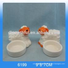 Diseño moderno cerámica animal vela titulares con forma de ovejas