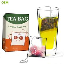 La marca al por mayor de la mejor calidad desechables de nylon del algodón de la malla de la hoja suelta verde cuadrada del filtro de bolsitas de té / de las bolsitas del té con la secuencia