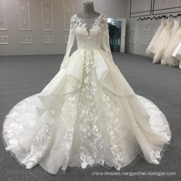 2017 latest design white long sleeve wedding dress bridal gown WT352