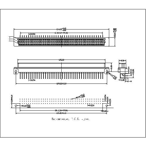 DFR-XX-XXX-308 Right Angle Female Extended(120 Positions) Type R Connectors-Model