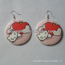 Jesus fashion wooden stud earrings
