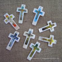 Pendentif Big Shell Pearl Cross, croix Mother of Pearl
